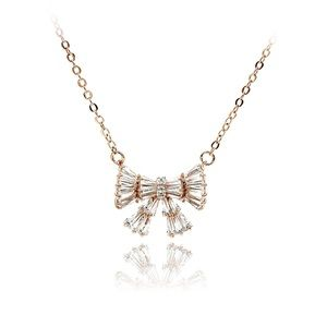 Rose gold small fresh bow wild necklace